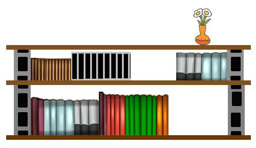 ブロックを積んだ本棚
